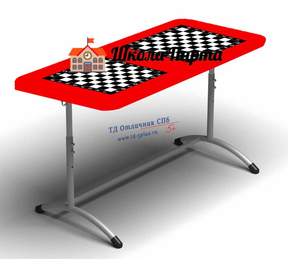 """Парта """"Точка роста"""" для """"Шахматного"""" класса четырехместная  Красная"""